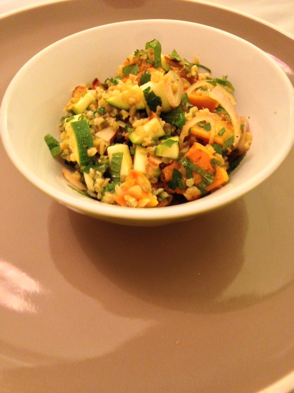 Roasted pumpkin, freekah and spice dressing